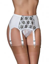 Premier Lingerie 6 Strap Garter Belt with Lurex Flower Lace ( SSL7 ) [CA]